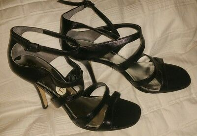 b8a24ca9ab0 Via Spiga Leather Black Strappy Wrap   Ankle W   Covered Heel Sandal