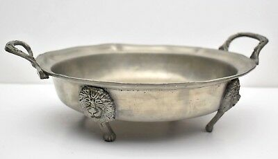 Rare Antique German Embossed Pewter Footed Serving Dish Fruit Bowl 18th Century