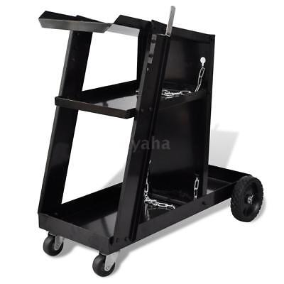 Welding Cart Black Trolley with 3 Shelves Workshop Organiser K2N9