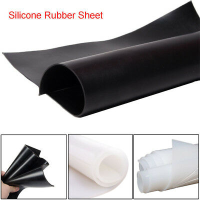 Silicone Rubber Sheet Black/White 1mm 2mm 3mm 4mm 5/6mm Thick Mat Various Size