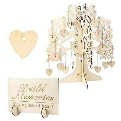 3D Wooden DIY Bridal Baby Shower Wedding Guest Book Sign Signature Tree