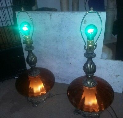 1971 vintage lamps,Amber glass mid-century/with base lamp too