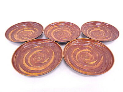 3663557: Japanese Lacquer Ware / Chataku ( Tea Cup Saucer ) / Set Of 5 / Lacquer