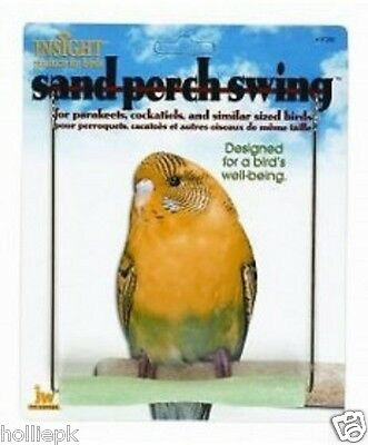 Budgie Canary Small Bird Sand Perch Swing Toy Hooks To Cage New