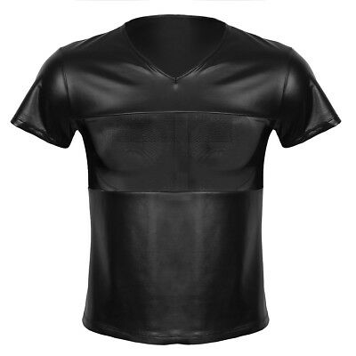 Mens Leather T Shirt Short Sleeve Muscle Tee Shirts Tops Blouse Clubwear Costume