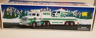 1995 Hess Truck With Helicopter In Original Box  Excellent Condition