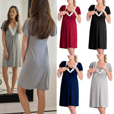 AU Maternity Dresses Nursing Dress Loose Womens Breastfeeding Pajamas Dress
