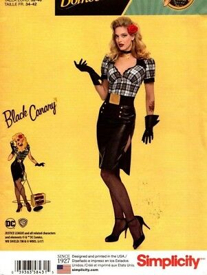 Simplicity Sewing Pattern 8431 Misses' Costumes DC Bombshells Black Canary 16-24
