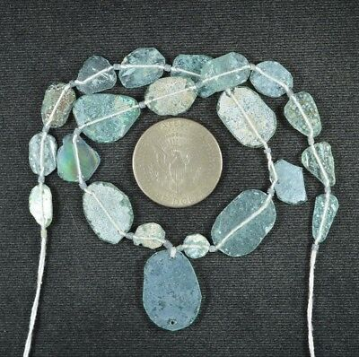 Ancient Roman Glass Beads 1 Medium Strand Aqua And Green 100 -200 Bc 906