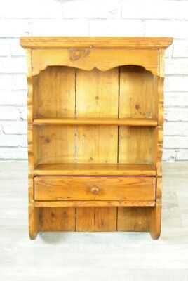 Dresser Storage Shelf Vintage Solid Wood Wall Unit Shelf - Pine Waxed Distressed