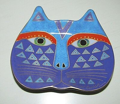 Laurel Burch Signed Colorful Ceramic Cat Dish 2007 Wine Things Unlimited 5.5""