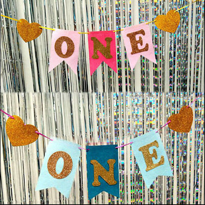 Baby Boy Girl 1st First Birthday Photo Booth Props On A Stick Banner Party Decor