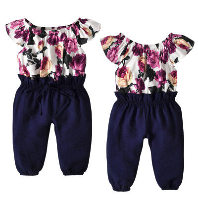 Casual Toddler Baby Girl Romper Floral Bodysuit Sunsuit Summer Outfits One Piece