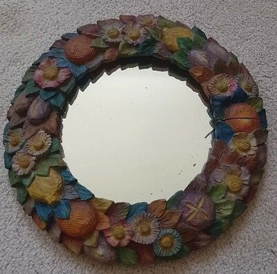 Antique Round Barbola Mirror