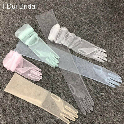 Sheer Tulle Gloves Wedding Bridal Gloves Elbow Long 9 Color Photography Use