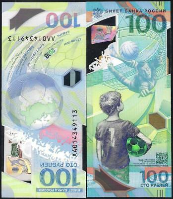 Russia, 100 rubles, 2018, FIFA World Cup in Russia 2018, polymer