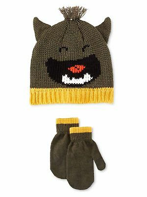 Carter's Toddler Boys Little Monster Hat and Mittens Set - Size 2T-4T