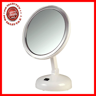 Floxite 10x Magnifying Led Lighted Vanity Mirror With 2 Light Settings New