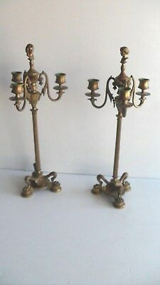Antique Bronze Candelabra Egyptian Greek Bust Bacchus Mask Candlesticks