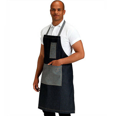 Dennys Washed Denim Contrast Bib Apron Kitchen Clothing Chefs Cooks (DP102B1)