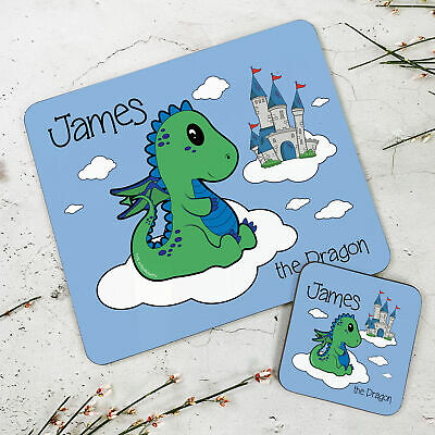 Personalised Kids New Green Dragon Wooden Glossy Placemat and Coaster Set