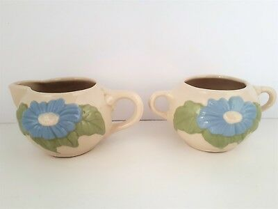 Vintage American Bisque Creamer Sugar Bowl Embossed Blue Flower Daisy Country