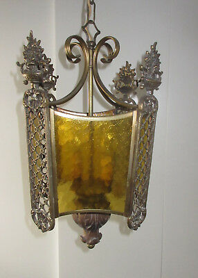 antique Vintage French Hall Lantern Louis XV Gilt Bronze Amber Glass