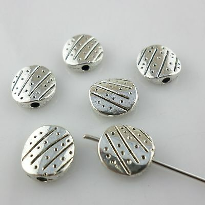 Flat Round Antique Silver Charms Spacer Beads Crafts Jewelry Findings Making