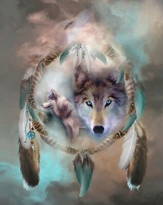 Native American Dream Catcher Wolve Of Peace Borderless 8.5x11 Matte Art NA-335