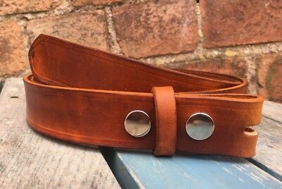 Natural Veg Tan Press Stud Snap Belt Choice of Colour Handmade 100% Real Leather