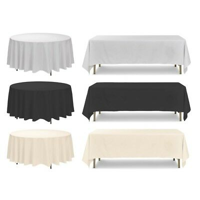 Polyester Tablecloth, White Ivory Black, Round Rectangle Square, Wedding Party