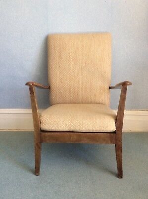 Retro Armchair With Wooden Frame And Upholstered Seat And Back