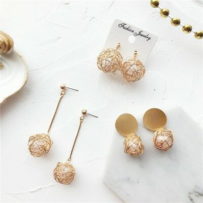 1Pair Charm Women Gold Plated Round Pearl Dangle Drop Earrings Stud Jewelry Gift