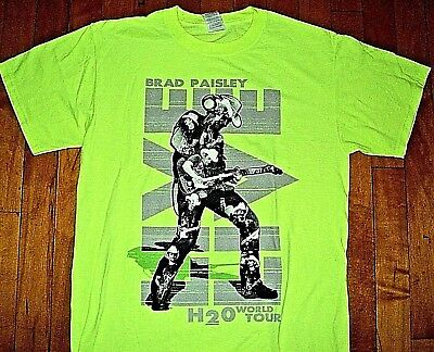 * BRAD PAISLEY H2O World Concert Tour * BRAND NEW T Shirt M Two Sided Neon 50/50