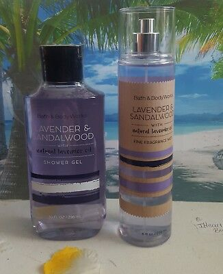 bath and body works lavender & sandalwood shower gel and fine fragrance mist