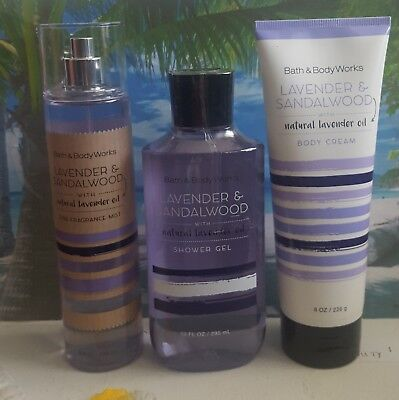 bath and body works lavender & sandalwood shower gel body cream fine fragrance
