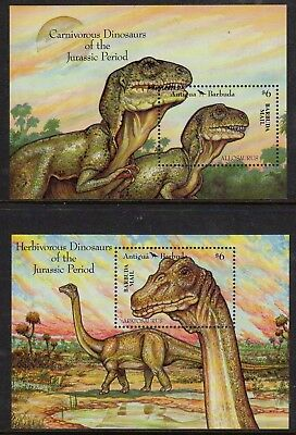 Barbuda 1992 Prehistoric Animals set x 2 min. sheets fine fresh MNH