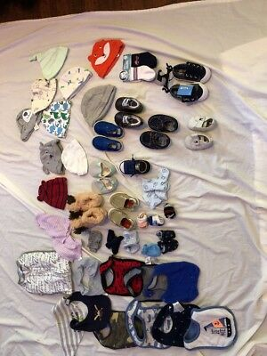 Baby Boys Mixed Lot 30+ Shoes Bibs Hats Socks Hand Covers 0-9 Months Euc