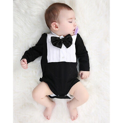 Newborn Baby Boy Gentleman Romper Long Sleeve Jumpsuit Bodysuit Outfits Clothes