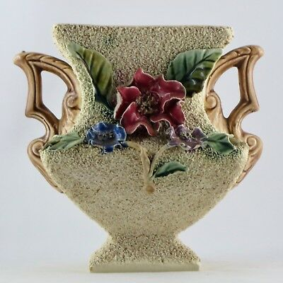 "Vase Ancien BARBOTINE ""Fleurs Relief"" 20th majolica/ceramic/longchamp/onnaing..."