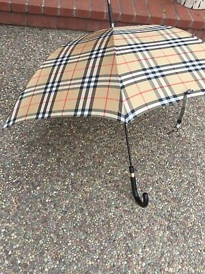 RARE Vintage BURBERRY Walking Umbrella~Wood Handle~Push Button open W/Cover EUC!