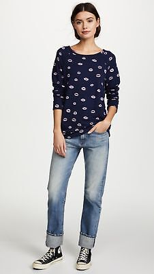 0e597873da2b4f Joie Womens Annora Navy Pink Lip Print French Terry Pullover Top Size large  new