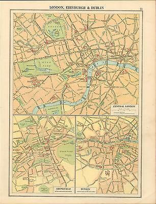 1919 Map ~ City Plans Of London Edinburgh & Dublin