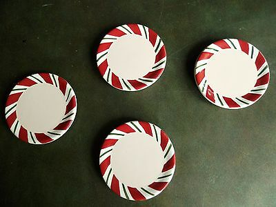 Set Of 4 Longaberger Baskets Coasters Peppermint Twist Christmas Pottery No Box