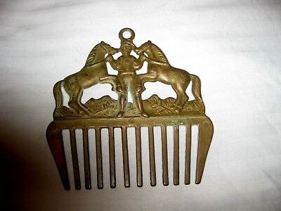 Vintage Old Brass 2 Horses & Trainer Comb Wall Hanger Country Barn Stable Cabin