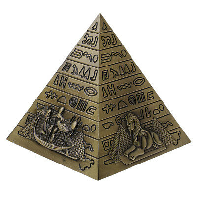 10cm Metal 3D Model Egyptian Pyramids Statue Souvenir Gift Home Office Decor