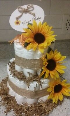 Sunflower Diaper Cake 2 Tier Baby Shower or Gift Table Decoration