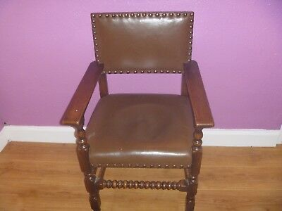 Antique Oak And Pu Leather Library,office,elbow Armchair Lovely Condition!!!