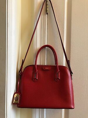 d4e6625e73 Lauren Ralph Lauren Tate Leather Dome Satchel Purse Handbag Red Cocoa  228