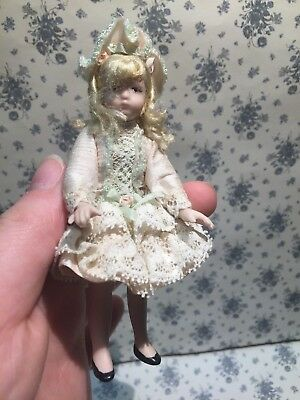 Dollhouse Miniatures ~ Victorian Era Blonde Little Girl in Beautiful Lace Dress